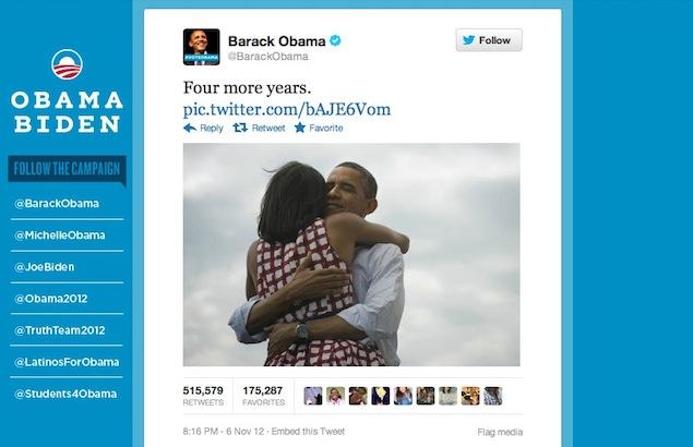 """06-07 Kasım - ABD Başkanı Obama'nın 6-7 Kasım gecesi ilk attıgı """"Four More Years"""" (4 yıl daha) tweetinin 1 milyonun üzerinde paylaşılması gündemi epey meşgul etti."""