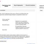 Uygulamaya özel şifre ayarlama sayfası